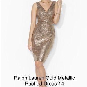Ralph Lauren Gold Metallic Ruched Sheath Dress-14